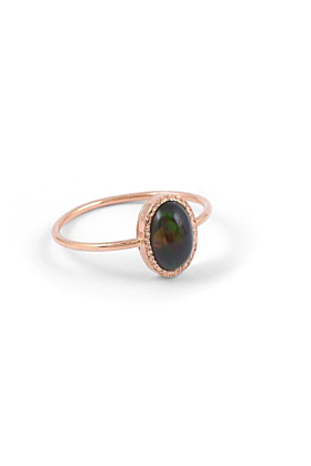 14kt Gold Classic Black Opal Engagement Ring