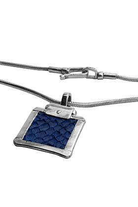Sterling Silver & Nordic Salmon Leather Royal Blue Box Pendant | Nord Collection