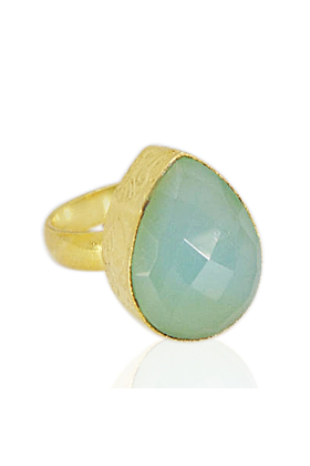 18kt Yellow Gold Plated Aqua Chalcedony Ring