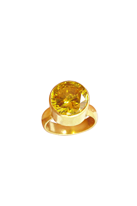 18kt Gold Plated Round Shape Citrine Birthstone Promise Ring