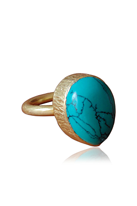 18kt Gold Plated Modern Pear Shape Turquoise Bezel Set Stacking Ring