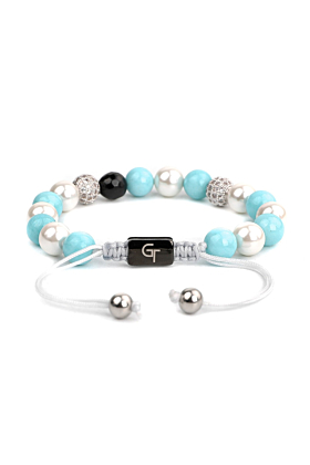 Mixed Pearl, Aquamarine, Agate Women's Beaded  Bracelet