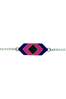 Bili Silver Rectangle Enamel Bracelet