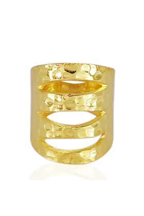 Hammered 18kt Yellow Gold Plated Lightweight Ring