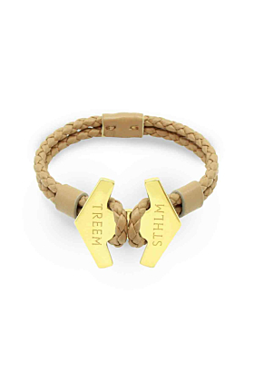 Tan Leather & Gold Stark Bracelet