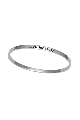 Sterling Silver Motivational Quote Bangle   Live For Today