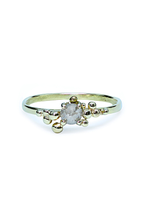14kt Yellow Gold Bubble Diamond Solitaire Ring
