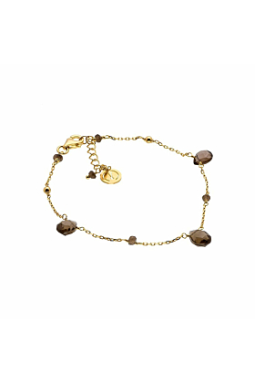 Yellow Gold Plated Silver & Smoky Quartz Cari Bracelet