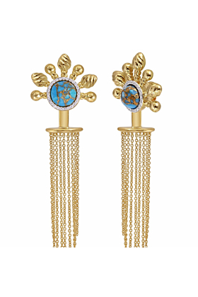 Yellow Gold Plated Silver Turquoise & Diamond Floating Rays Detachable Chandelier Earrings