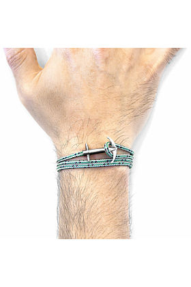 Green Dash Admiral Anchor Silver and Rope Bracelet