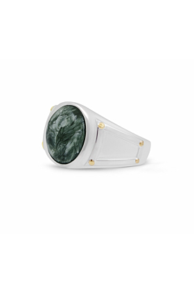 Seraphinite Iconic Stone Ring in Sterling Silver
