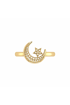14kt Yellow Gold Plated Starkissed Crescent Ring