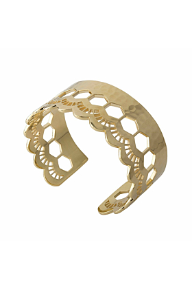Gold Lace Edge Open Cuff Bangle