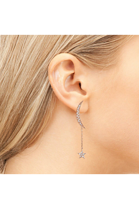 Rose Gold Plated Moon & Star Earrings With White Cubic Zirconia