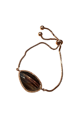Rose Gold Plated Abstract Halo Bracelet With Black Glass Stone