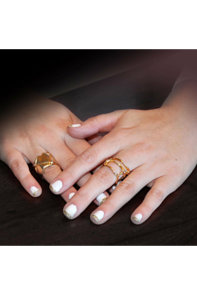 18kt Yellow Gold Open Flame Ring