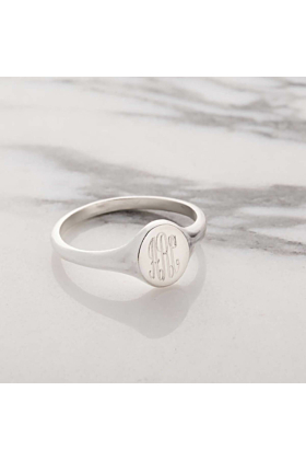 Personalised Monogrammed Signet Ring Silver