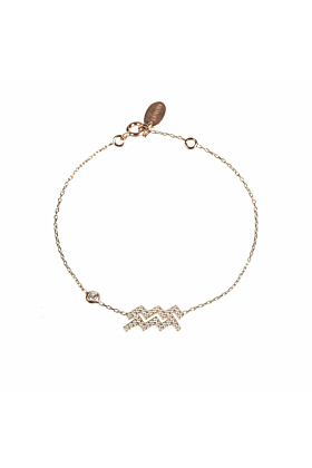 Aquarius Zodiac Bracelet Rose Gold