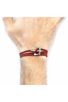Red Noir Union Anchor Silver and Rope Bracelet