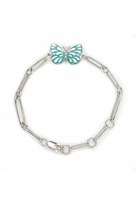 Rhodium Plated Turquoise Butterfly Bracelet