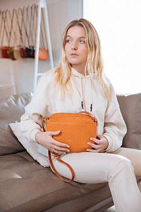 Olea Orange Leather Crossbody Bag