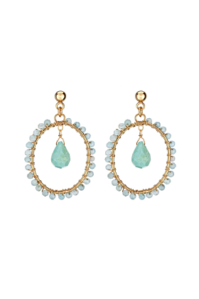 Yellow Gold Plated Willa Earrings With Aquamarine & Turquoise