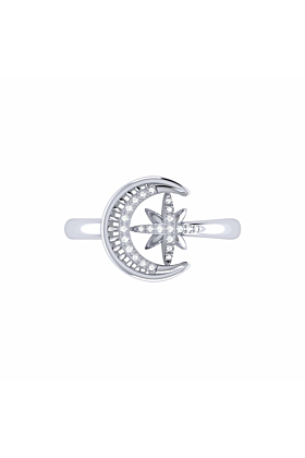 Sterling Silver Moon-Cradled Star Ring