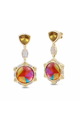 Yellow Gold Plated Silver Citrine & Diamond Girl On Fire Vibrant Earrings