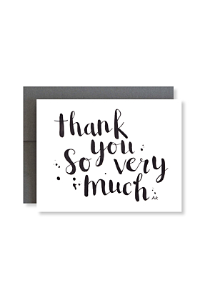 Thank You So Very Much Brush Lettering Greeting Card