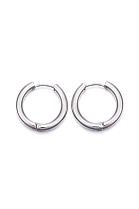Can You Click It Silver Plated Hoop Earrings