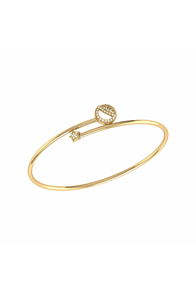 14kt Yellow Gold Plated Half Moon Star Bangle