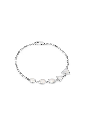 Rhodium Plated Silver Natural Agate Chain Bracelet