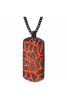 Rhodium Plated Silver Red & Orange Enamel Rivers of Fire Textured Tag