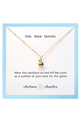Yellow Gold Plated Sport Tennis Charm Necklace