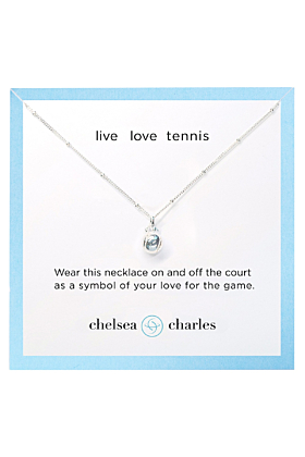 Sterling Silver CC Sport Tennis Charm Necklace