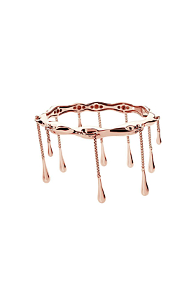 Long Drop Bangle Rose Gold Plated