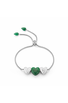 Luv Me Green Aventurine Adjustable Heart Bracelet