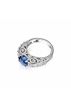 White Gold & Sapphire Royal Collection Ring | Pinomanna