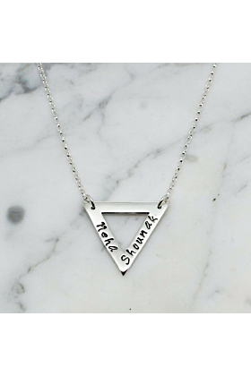 Personalised Sterling Silver Triangle Necklace