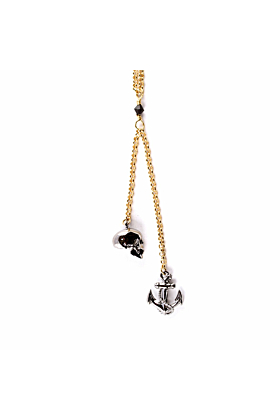 Ruthenium Skull & Anchor pendant