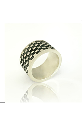 Silver thumb ring with oxidised pattern