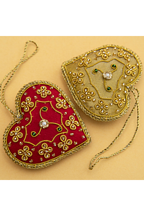 Set of 6 Hand Embroidered Christmas decorations