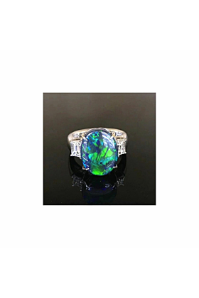 Australian Black Opal Platinum Ring