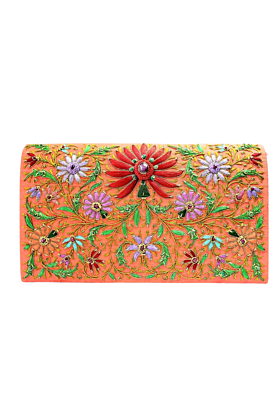 Silk Lotus Orange Clutch Bag