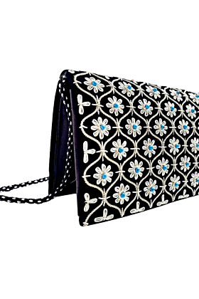 Black Velvet Silver Clutch Bag with Turquoise