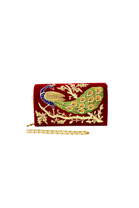 Velvet Peacock Clutch Bag