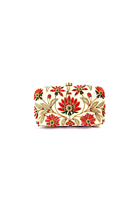 Velvet Lotus Flower Clutch Bag