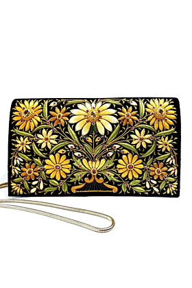 Velvet Golden Yellow Sunshine Clutch Bag