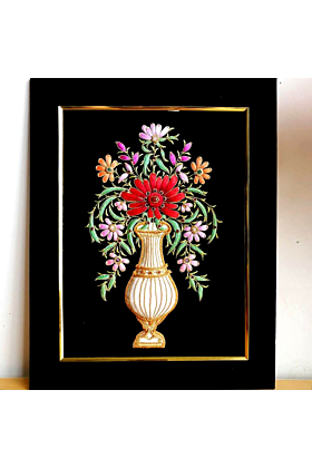 Embroidered Flowers in Vase Wall Art