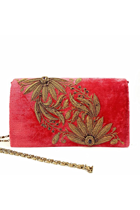 Washed Red Velvet Clutch Bag